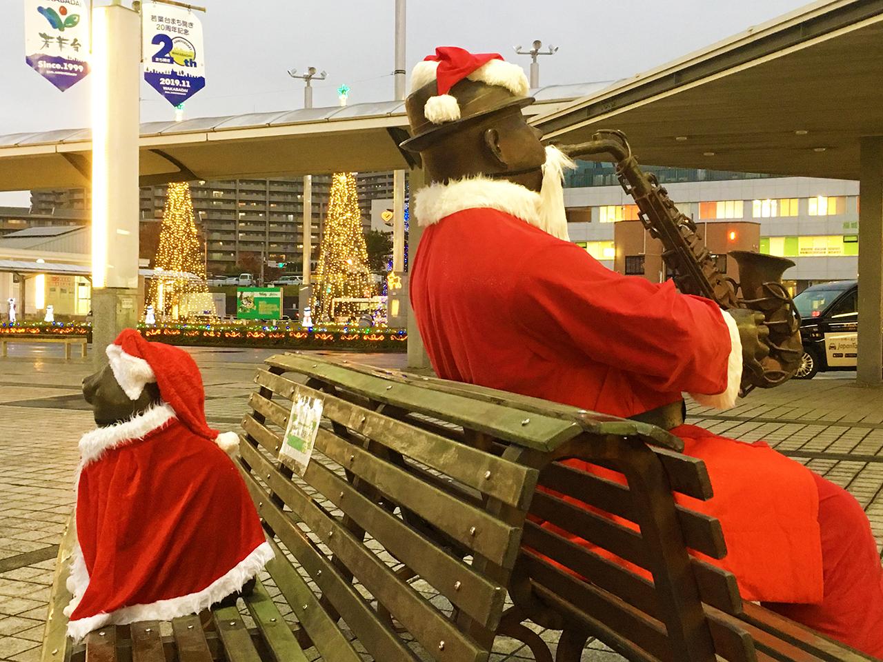 京王若葉台駅前のサックスのおじさんがサンタクロース